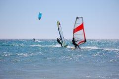 Kitesurf font de la planche à voile Photo stock