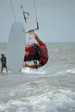 Kitesurf jump. Kiter jumping in rome wave spot (italy Royalty Free Stock Images