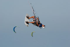 Kitesurf jump on sky 2 Royalty Free Stock Photography