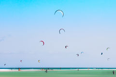 Kitesurf. Ers and windsurfers in Sotavento Beach (Fuerteventura Stock Image