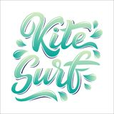 Kitesurf lettering logo. In graffiti style isolated on white background. Vector illustration for design t-shirts, banners, labels, clothes, apparel, water Stock Photo