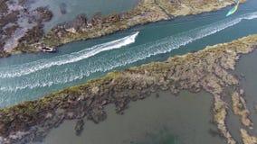 Kitesurf in Murtosa, Ria de Aveiro stock footage