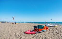 Free Kitesurf Power Kite On The Beach In Ulcinj, Montenegro Stock Photography - 76639112
