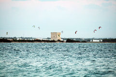 Kitesurf in salento Stock Photos