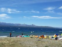 Kitesurf in San Carlos de Bariloche Patagonia Argentina. Background. Kitesurf in San Carlos de Bariloche. Patagonia Argentina America del sur. wind sport with Royalty Free Stock Image