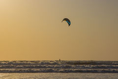 Kitesurf at sea on a sunset, Arambol beach, Goa, India Stock Photos