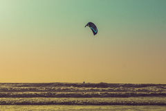 Kitesurf at sea on a sunset, Arambol beach, Goa, India Stock Photography