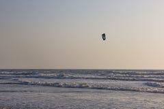 Kitesurf at sea on a sunset, Arambol beach, Goa, India Stock Image