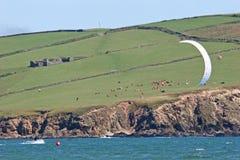 kitesurfer залива bigbury Стоковое Фото