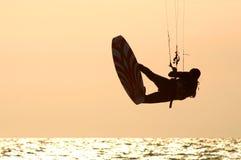 Kitesurfer #3. Kitesurfers training day on Mediterranean sea, Israel Royalty Free Stock Image