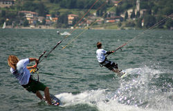 Kitesurfer in action. International competition of freestyle Kiteboard Pro World Tour 2008 Stock Image