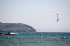 Kitesurfer in Bigbury bay Stock Images