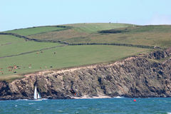 Kitesurfer in Bigbury bay Royalty Free Stock Photos