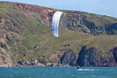 Kitesurfer in Bigbury bay Royalty Free Stock Photo
