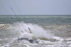 Kitesurfer. On the edge of his board Stock Photo