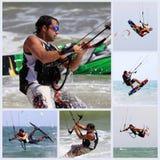 Kitesurfer en la acción Fotos de archivo