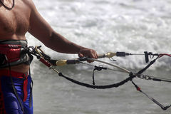 Kitesurfer. With equipment on a coast of ocean Royalty Free Stock Image