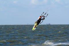 Kitesurfer flying Royalty Free Stock Photography
