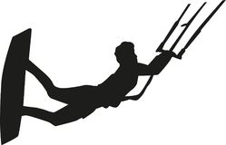 Kitesurfer flying silhouette. Vector sports Royalty Free Stock Image