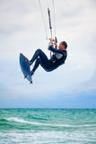 Kitesurfer In The Air Of Crimea Royalty Free Stock Image