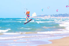 Kitesurfer during a jump. royalty free stock photos