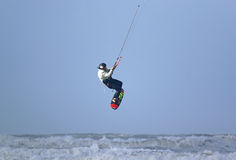 Kitesurfer jumping Royalty Free Stock Photo
