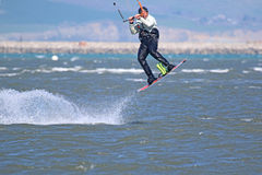Kitesurfer jumping Royalty Free Stock Image