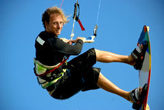 Kitesurfer close up jumping in the sky Royalty Free Stock Image