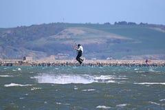 Kitesurfer in Portland Harbour Royalty Free Stock Images