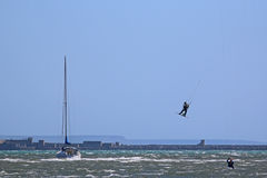 Kitesurfer in Portland harbour Royalty Free Stock Photos