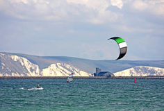 Kitesurfer in Portland harbour Royalty Free Stock Photo