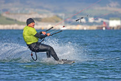 Kitesurfer in Portland harbour Royalty Free Stock Images