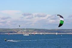 Kitesurfer in Portland harbour Stock Photos
