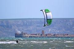 Kitesurfer in Portland Harbour Royalty Free Stock Image