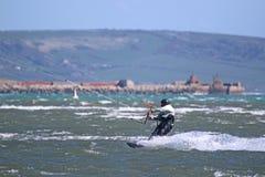 Kitesurfer in Portland harbour Stock Image