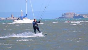 Kitesurfer in Portland Harbour Stock Images