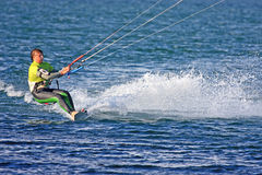 Kitesurfer in Portland Harbour Royalty Free Stock Photos