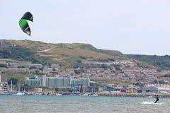 Kitesurfer in Portland Harbour Royalty Free Stock Photography