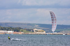 Kitesurfer in Portland harbour Stock Images