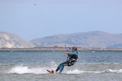 Kitesurfer in Portland harbour Stock Photo