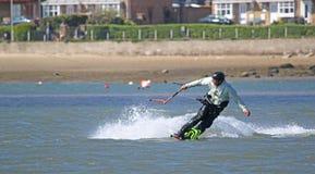 Kitesurfer in Portland Harbour Royalty Free Stock Photo