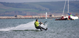 Kitesurfer in Portland harbour Royalty Free Stock Photography