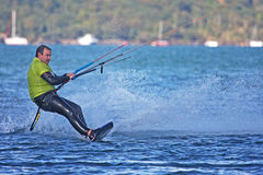 Kitesurfer in Portland harbour Royalty Free Stock Image