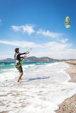 Kitesurfer on the Presqu'ile de Giens Hyeres Beach Royalty Free Stock Photography