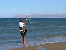 Kitesurfer ready to start Stock Image