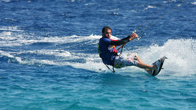 Kitesurfer on the Red Sea (panoramic). Royalty Free Stock Photography