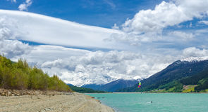 Kitesurfer on Reschen lake Stock Photos