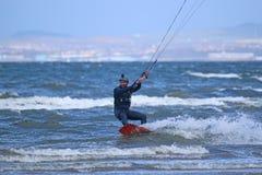 Kitesurfer riding Royalty Free Stock Photography