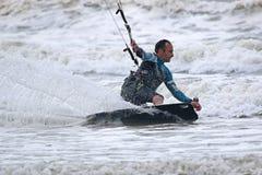Kitesurfer. Riding his board edge Stock Photos