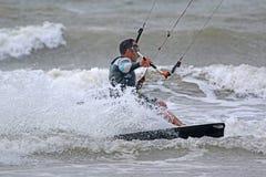 Kitesurfer riding Royalty Free Stock Photos